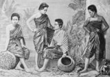 Four women of central Siam in the mid-19th century, when it was the custom for women to crop their hair short. In semi-autonomous north Thailand at the time - the former Lan Na or Lanna Kingdom with its capital at Chiang Mai - women wore their hair long.