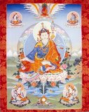 Padmasambhava, (Sanskrit Padmakara; Tibetan Pemajungné; Chinese Liánhuāshēng) or 'Lotus Born', was a guru from Oḍḍiyāna (modern Swat) who is said to have transmitted Vajrayana Buddhism to Bhutan and Tibet and neighbouring countries in the 8th century.<br/><br/>  In those lands he is better known as Guru Rinpoche ('Precious Guru') or Lopon Rinpoche, or, simply, Padum in Tibet, where followers of the Nyingma school regard him as the second Buddha. His Pureland Paradise is Zangdok Palri (the Copper-coloured Mountain).<br/><br/>  He is further considered an emanation of Buddha Amitabha and traditionally even venerated as a second Buddha. He was born into a Brahmin family of Northwest India.