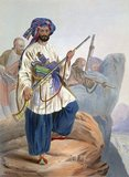 Lithograph from 'Afghaunistan' by Lieutenant James Rattray (1841). The Kohistani is Mir Alam, formerly one of a band of noted robbers on the road to Turkestan, north-west of Begram. Rattray wrote: 'Coistaun has always been remarkable for the war-like character of its inhabitants, who average some forty thousand families famous for the efficiency and excellence of their Pyadas (foot-soldiery). As light infantry they are unrivalled, and from their numbers and determined courage, are of considerable importance in the event of any revolution in which they may take part'.<br/><br/>  The robber chief Hassan secretly and daringly accosted the British envoy William McNaghten and offered to bring him Dost Mohammmed's head in return for a large amount of money. Although this offer was hastily turned down, Hassan and his men were later enrolled among the infantry escort of Rattray's brother. Giving up their precarious livelihood, they became most efficient soldiers.<br/><br/>  Mir Alam carries a 'juzzail', a type of large heavy rifle. Afghan snipers were expert marksmen and their juzzails fired roughened bullets, long iron nails or even pebbles over a range of some 250 metres. The Afghans could fling the large rifles across their shoulders as if they were feathers and spring nimbly from rock to rock. They loved to decorate their rifles: Rattray writes of finding one adorned with human teeth.